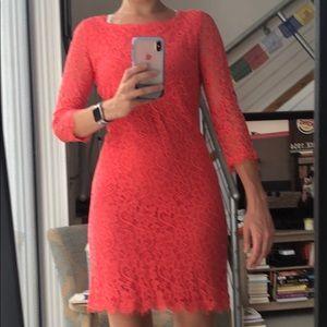 DVF sz 8 Zarita Coral lace dress with back zipper